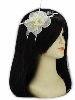LSH00137 -  Ivory Mesh Flower Fascinator