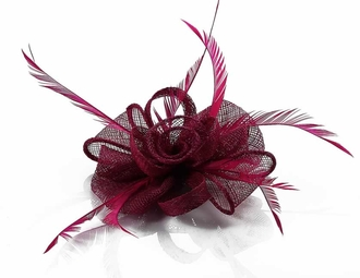 LSH00130 - Fuchsia Feather and Mesh Flower Fascinator