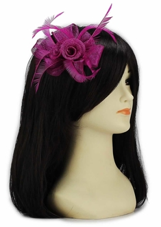 LSH00128 - Purple Feather and Mesh Flower Fascinator