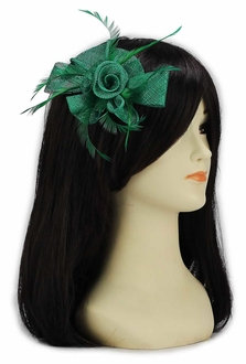 LSH00128 - Green Feather and Mesh Flower Fascinator