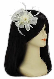 LSH00128 - Ivory Feather and Mesh Flower Fascinator