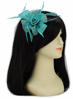 LSH00128 - Emerald  Feather and Mesh Flower Fascinator