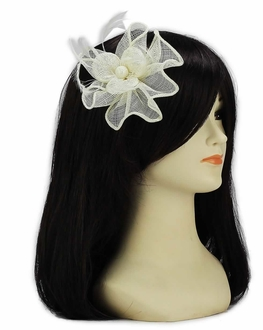 LSH00143 - Ivory Feather and Mesh Flower Fascinator