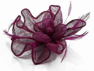 LSH00143 - Purple Feather and Mesh Flower Fascinator
