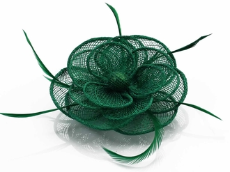 LSH00127 - Green Feather and Mesh Flower Fascinator