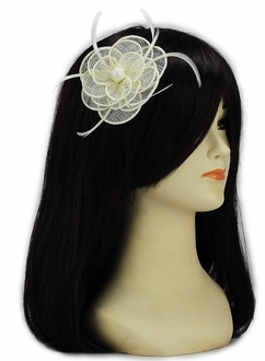 LSH00127 - Ivory Feather and Mesh Flower Fascinator