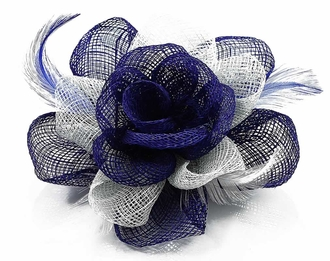 LSH00138 - Navy/White Feather and Mesh Flower Fascinator