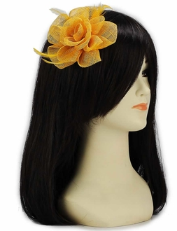 LSH00138 - Gold Feather and Mesh Flower Fascinator