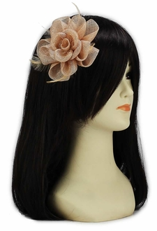 LSH00138 - Nude  Feather and Mesh Flower Fascinator