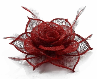 LSH00129 - Red Feather and Mesh Flower Fascinator