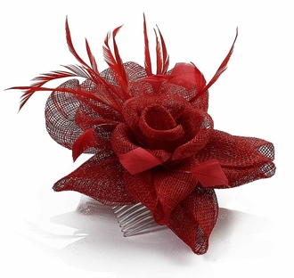 LSH00114 - Red Feather and Mesh Flower Fascinator on Comb