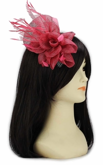 LSH00114 - Pink Feather and Mesh Flower Fascinator on Comb