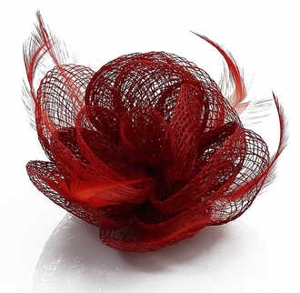 LSH00142 - Red Feather and Mesh Flower Fascinator