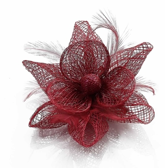 LSH00140 - Pink Feather and Mesh Flower Fascinator