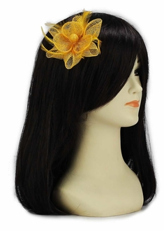 LSH00140 - Gold Feather and Mesh Flower Fascinator