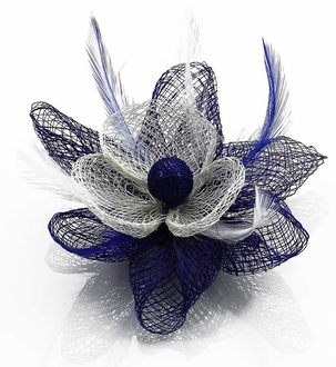 LSH00140 - Navy/White Feather and Mesh Flower Fascinator
