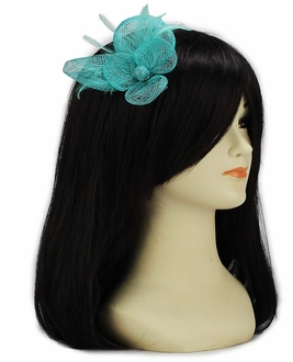LSH00126- Emerald Feather and Mesh Flower Fascinator