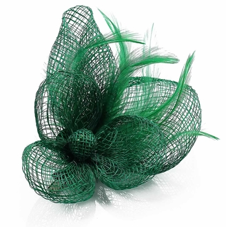 LSH00126- Green Feather and Mesh Flower Fascinator