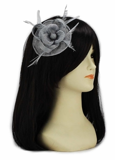 LSH00135- Grey Feather and Mesh Flower Fascinator