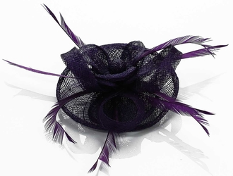 LSH00135- Purple Feather and Mesh Flower Fascinator