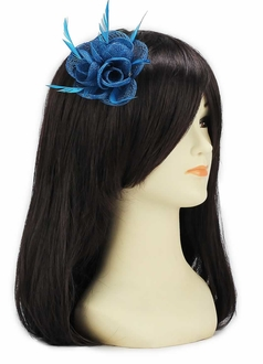 LSH00133 -  Teal Feather and Mesh Flower Fascinator