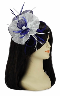 LSH00119-  Navy / White Feather and Mesh Flower Fascinator