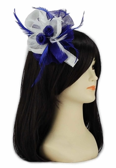 LSH00120 -  Navy / White Feather and Mesh Flower Fascinator