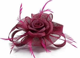 LSH00110 -  Fuchsia Feather and Mesh Flower Fascinator