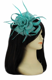 LSH00110 -  Emerald Feather and Mesh Flower Fascinator