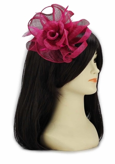LSH00117 -  Fuchsia Feather and Mesh Flower Fascinator