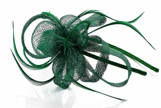 LSH00163 - Green Loop & Feather Fascinator on Headband
