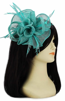 LSH00111 - Emerald Feather and Mesh Flower Fascinator