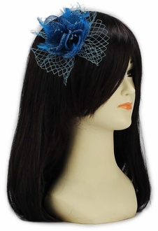 LSH00131 - Teal Feather and Mesh Flower Fascinator