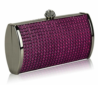 LSE0081 - Purple Sparkly Diamante Evening Clutch