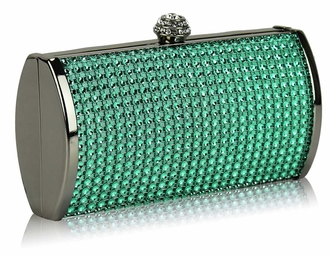 LSE0081 - Teal Sparkly Diamante Evening Clutch