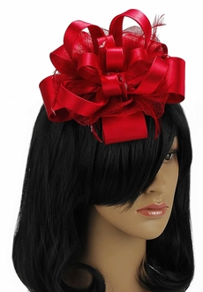 LSH00100 - Red Feather & Flower Fascinator on Comb
