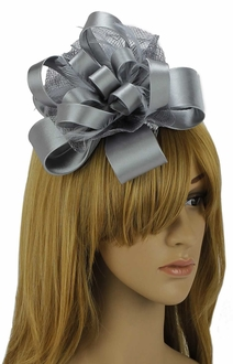 LSH00100 - Grey Feather & Flower Fascinator on Comb