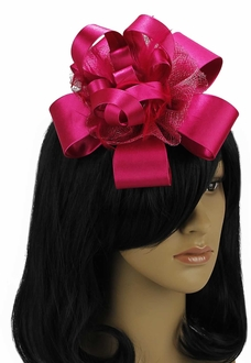 LSH00100 - Fuchsia Feather & Flower Fascinator on Comb