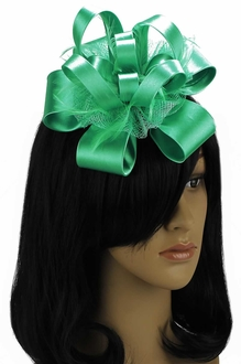 LSH00100 - Emerald Feather & Flower Fascinator on Comb