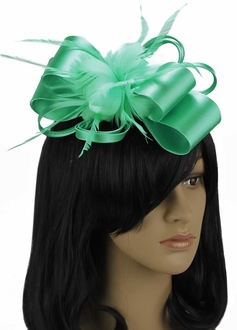 LSH00101 - Emerald Feather & Flower Fascinator on Comb