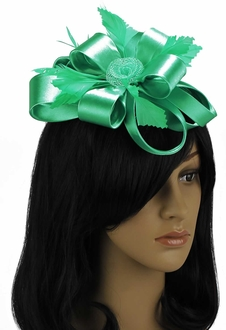 LSH0099 - Emerald Feather & Flower Fascinator on Comb