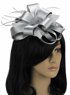 LSH0099 - Grey Feather & Flower Fascinator on Comb