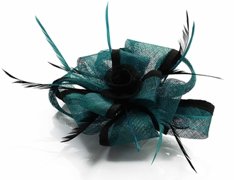 LSH00107 - Teal / Black Feather & Flower Fascinator on Comb
