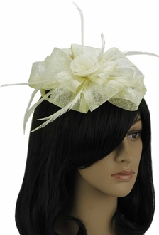 LSH00107 - Ivory Feather & Flower Fascinator on Comb