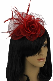 LSH00113- Red Feather & Mesh Flower Fascinator on Comb