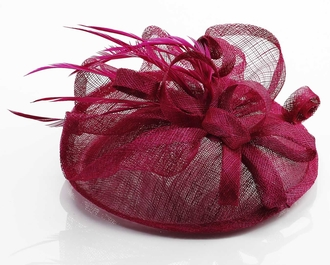 LSH00156 - Fuchsia Mesh Hat Feather Fascinator
