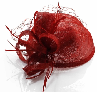 LSH00106 - Red Mesh Hat Feather Fascinator