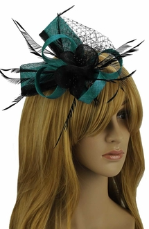 LSH00108 - Teal / Black Feather and Mesh Flower Fascinator