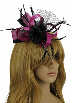 LSH00108 - Purple / Black Feather and Mesh Flower Fascinator