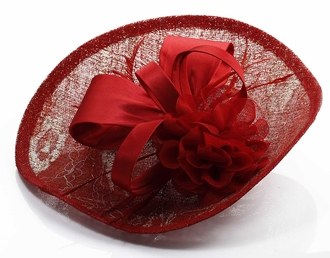 LSH00122 - Red Mesh Hat Feather Fascinator